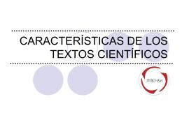 CARACTERISTICAS DE LOS TEXTOS CIENTÍFICOS