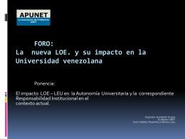 La nueva LOE y su impacto en la Universidad venezolana
