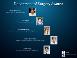 Annual Address - part 2 - Department of Surgery
