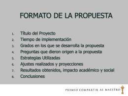 FORMATO PARA LA PROPUESTA - Premio compartir al maestro