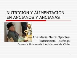 NUTRICION Y ALIMENTACION DEL ANCIANO Y ANCIANA
