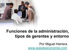 funciones de la administración, tipos de gerentes y entorno