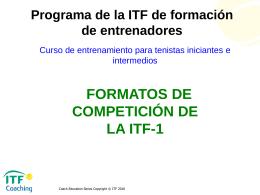 Formatos de Competición de la ITF