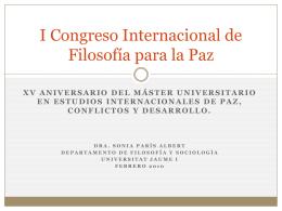 I Congreso Internacional de Filosofía para la Paz