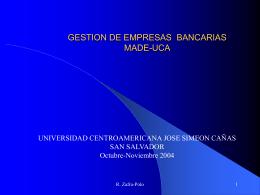 """curso de gestion bancaria - Universidad Centroamericana """"José"""