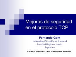 Mejoras de seguridad en el protocolo TCP