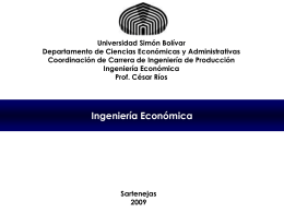 Ingeniería Económica Prof. César Ríos