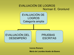 EVALUACIÓN DE LOGROS Norman E. Gronlund