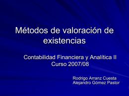 Métodos de valoración de existencias