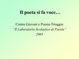 Il poeta si fa voce… - Centro Giovani e poesia Triuggio