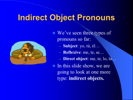 Indirect Object Pronouns PPT