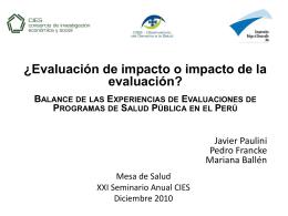 ¿Evaluación de impacto o impacto de la evaluación? Balance de las