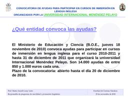CONVOCATORIA DE AYUDAS PARA PARTICIPAR EN CURSOS