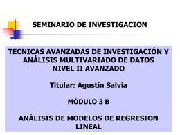 ANÁLISIS DE MODELOS DE REGRESION LINEAL