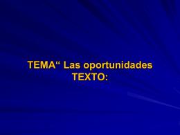 "TEMA"" Las oportunidades"" - Iglesia Vida con Proposito"