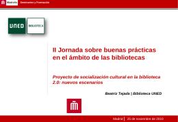 Proyecto de socialización cultural en la biblioteca 2.0