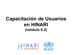 Materiales de Capacitación HINARI