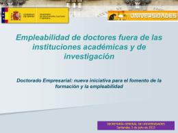Empleabilidad de doctores fuera de las instituciones académicas y