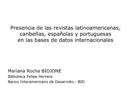 Presencia de las revistas latinoamericanas (portuguesas y