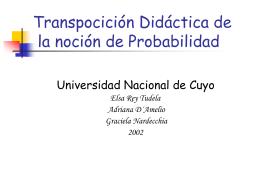 Transpocición Didáctica de la noción de Probabilidad