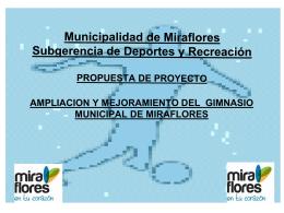 Ampliación y Equipamiento del Gimnasio Municipal de Miraflores