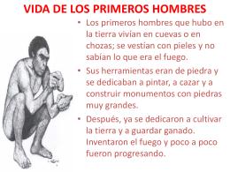 VIDA DE LOS PRIMEROS HOMBRES