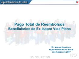 Reembolsos cubiertos a los beneficiarios de la Ex Isapre Vida Plena