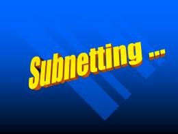 Subnetting - UBV 2006