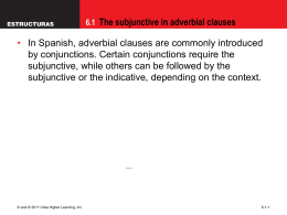 6.1 The subjunctive in adverbial clauses