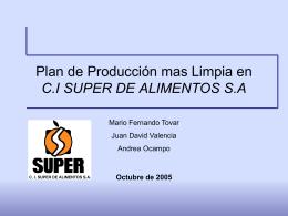 Plan de Producción mas Limpia en C.I SUPER DE