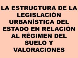 La estructura de la legislación urbanística estatal