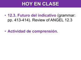 HOY EN CLASE 12.3. Futuro del indicativo