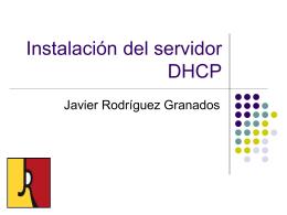 Instalación del servidor DHCP.