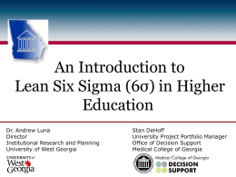 An Introduction to Lean Six Sigma in Higher Education