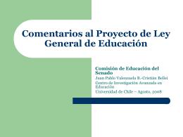 Comentarios al Proyecto de Ley General de Educación