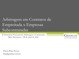 Arbitragem em Contratos de Empreitada x Empresas Subcontratadas