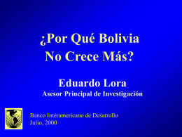 ¿Por Qué Bolivia No Crece Más?