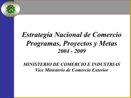 Estrategia Nacional de Comercio Programas, Proyectos y