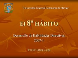 El 8º HÁBITO - Facultad de Ingeniería, UNAM. Desarrollo de