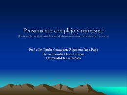 Pensamiento complejo y marxismo (Hacia una - Letras