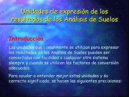 Unidades de expresión de los resultados de los Análisis de Suelos