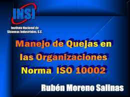 INSI Quejas ISO 10002