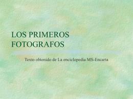 LOS PRIMEROS FOTOGRAFOS