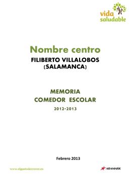 Plan Comedor 2012/2013 - CeiP Filiberto Villalobos (Salamanca)