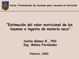 Estimación del Valor Nutricional de los Insumos