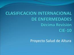 CLASIFICACION INTERNACIONAL DE ENFERMEDADES CIE-10