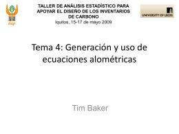 Generación y uso de las ecuaciones alométricas