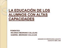LA EDUCACIÓN DE LOS ALUMNOS CON ALTAS CAPACIDADES