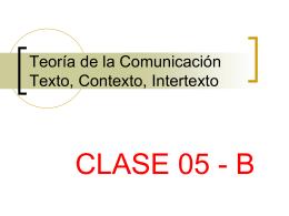 Teoría de la Comunicación Texto, Contexto