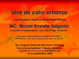 Islas de calor urbanas, MC Nicole Salgado